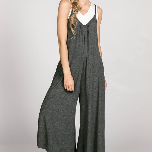 8e5d50d33951 Agnes and Dora Gathered V-neck Jumpsuit Charcoal
